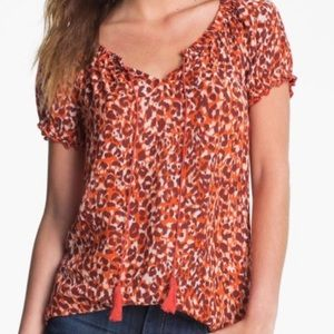 Lucky Brand Safi leopard print peasant top blouse